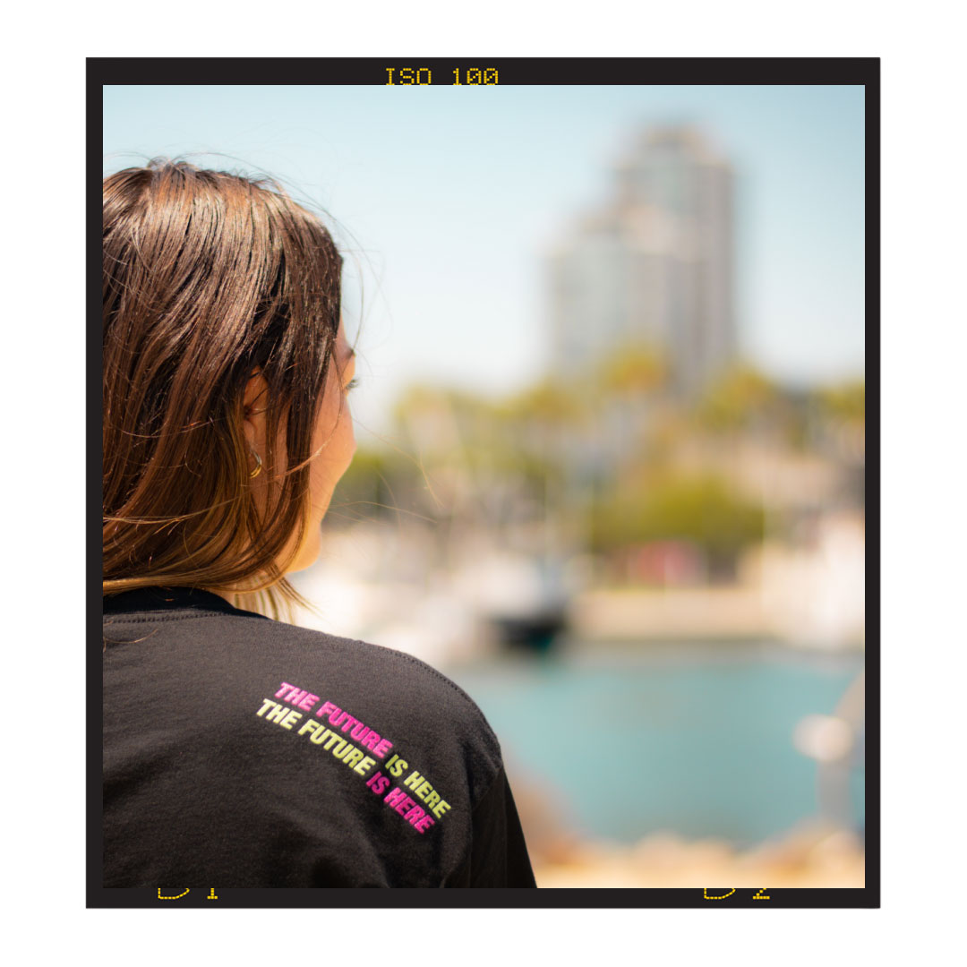 urban youth worker looking at city